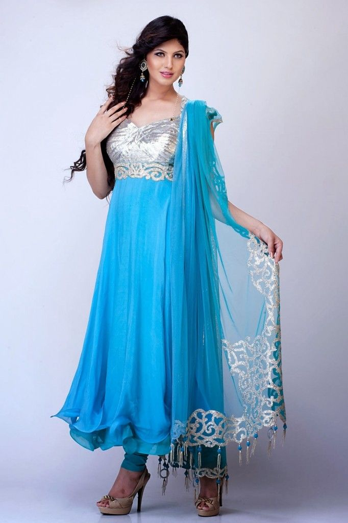 a146cc956c New Indian Fashion Long Shirt Anarkali Dresses for Girls 2014-2015 Fancy  Embroidered Collection (8)