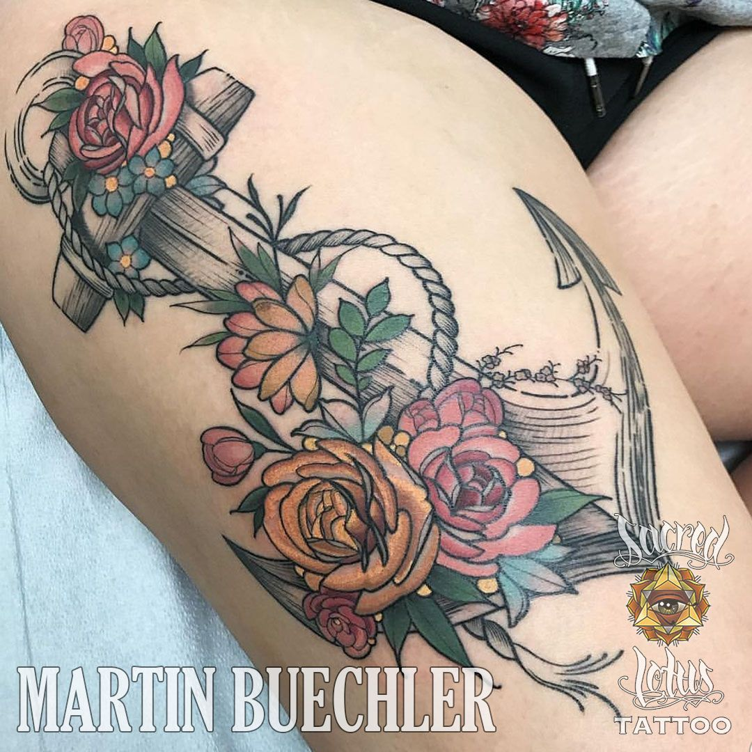 Floral And Anchor Tattoo By Martin Buechler At Sacred Lotus Tattoo In Asheville Nc Tattoos Sacred Lotus Tattoo Shop