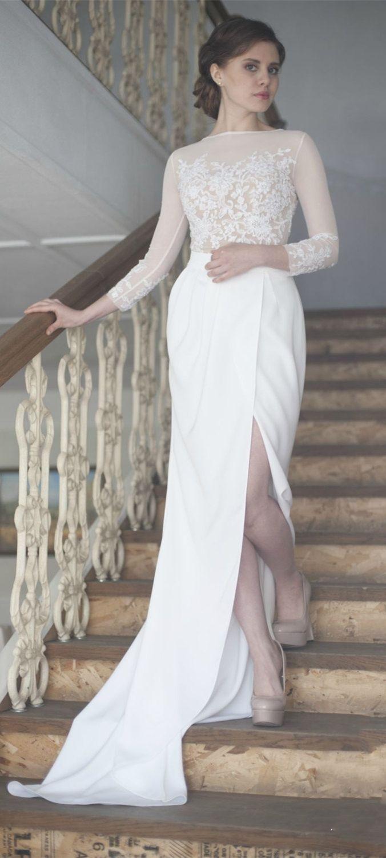 Long sleeve ivory wedding dress  Sheath Crew Long Sleeves Sweep Train Wedding Dress with Appliques