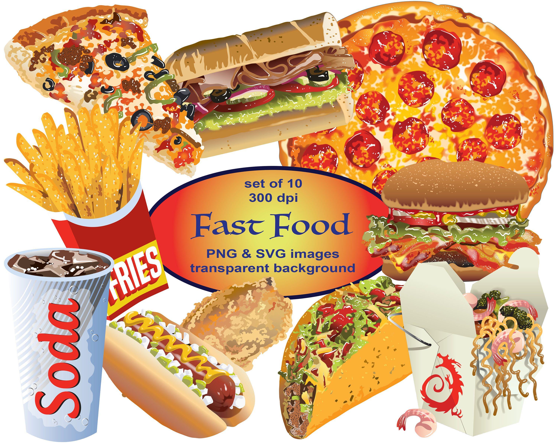 Fast Food Clip Art Food Clipart Svg Clipart Png Pizza Etsy Food Clipart Food Clips Fast Food
