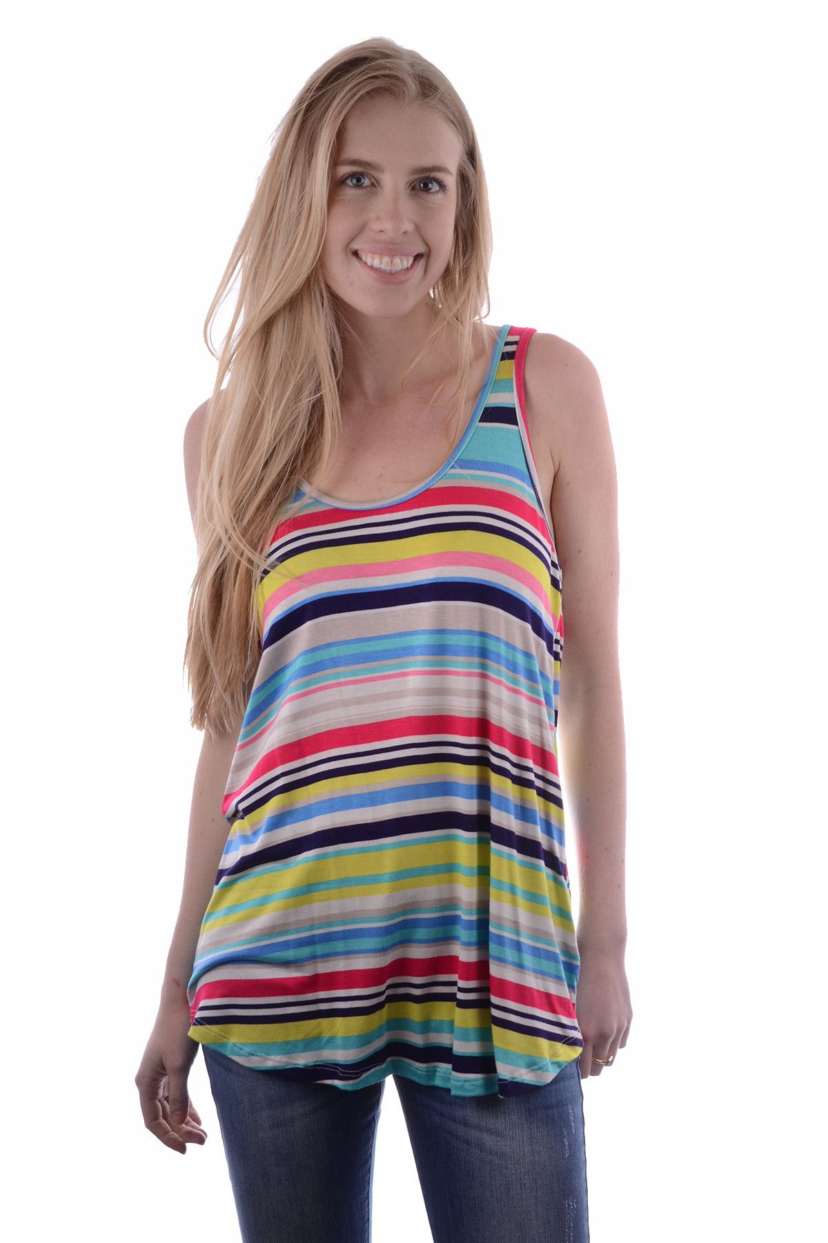 POOLSIDE PARTY STRIPED TANK