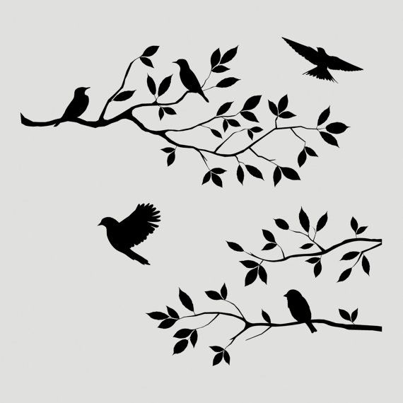Check Out This Item In My Etsy Shop Listing 225975325 Birds Branch Tree Stencil Wall Wood Sign