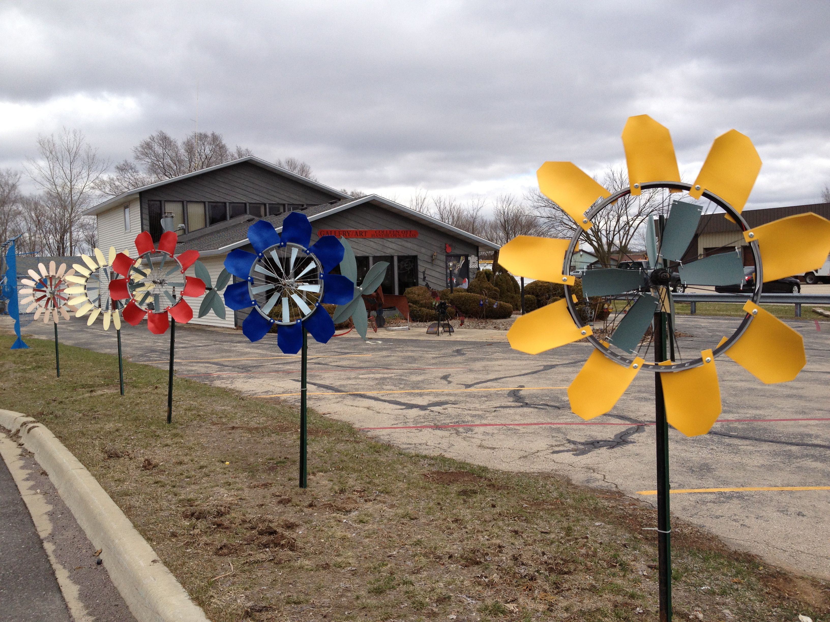 Windflower Kinetic Garden Sculptures Made From Recycled Bicycle Rims,  Plumbing Parts, PVC Foam Sheets