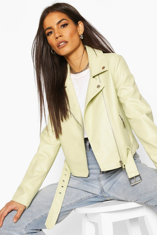 Faux Snake Skin Moto Jacket Boohoo Biker Jacket Fashion Beige Leather Jacket [ 1500 x 1000 Pixel ]