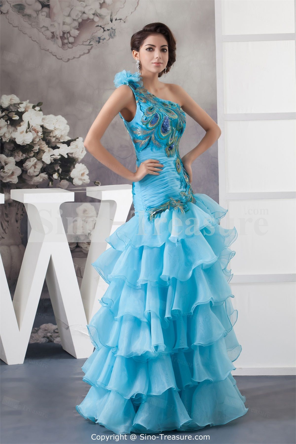 Blue One Shoulder Apple Sleeveless Princess Prom Dress ...