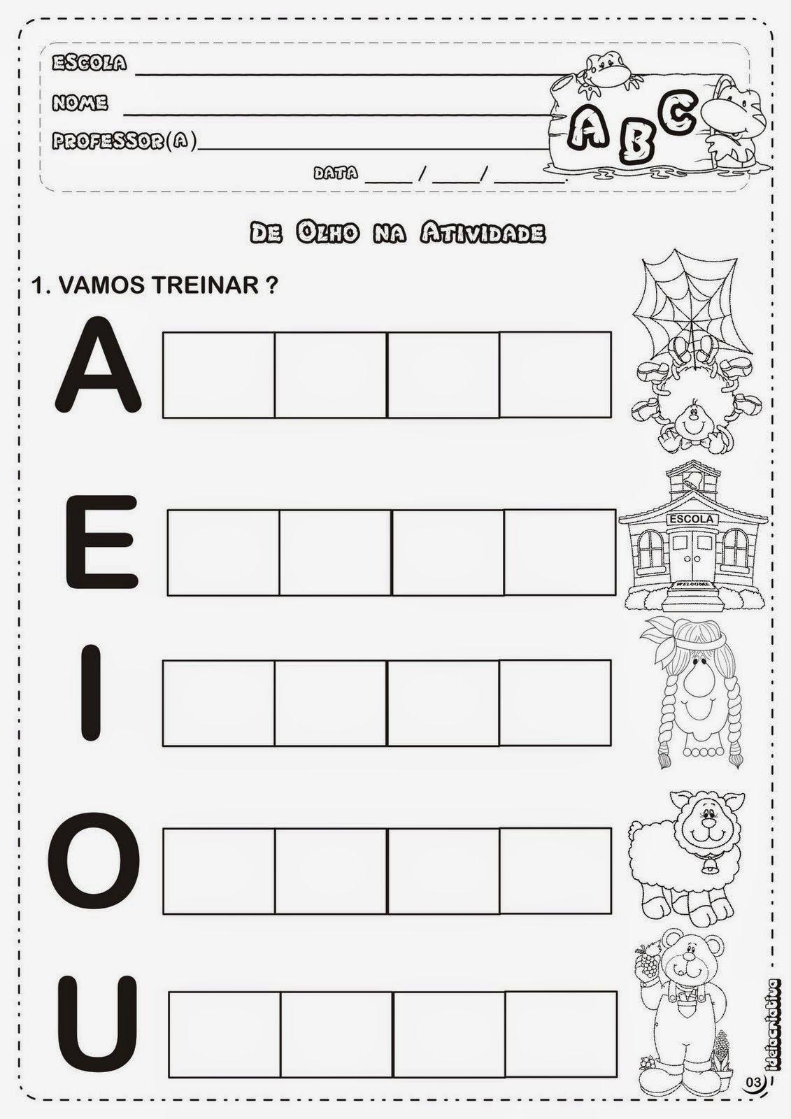 Conhecido Atividades Com Vogais Para Alfabetização Infantil - Cia de  SI16