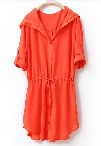 Cute swimsuit coverup.   - Hooded Half-Sleeved Solid Loose Chiffon Shirt Orange