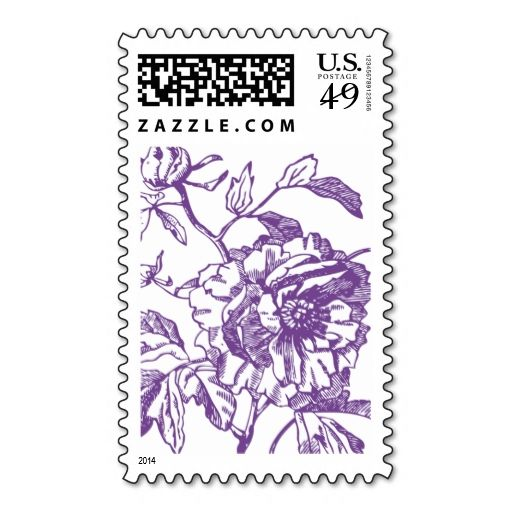 Purple Flower Stamp. This great stamp design is available for customization or ready to buy as is. Of course, it can be sent through standard U.S. Mail. Just click the image to make your own!