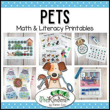 Pets Printable Math Literacy Activities For Pre K Preschool Kindergarten Preschool Themes Math Literacy Activities Pets Preschool Theme