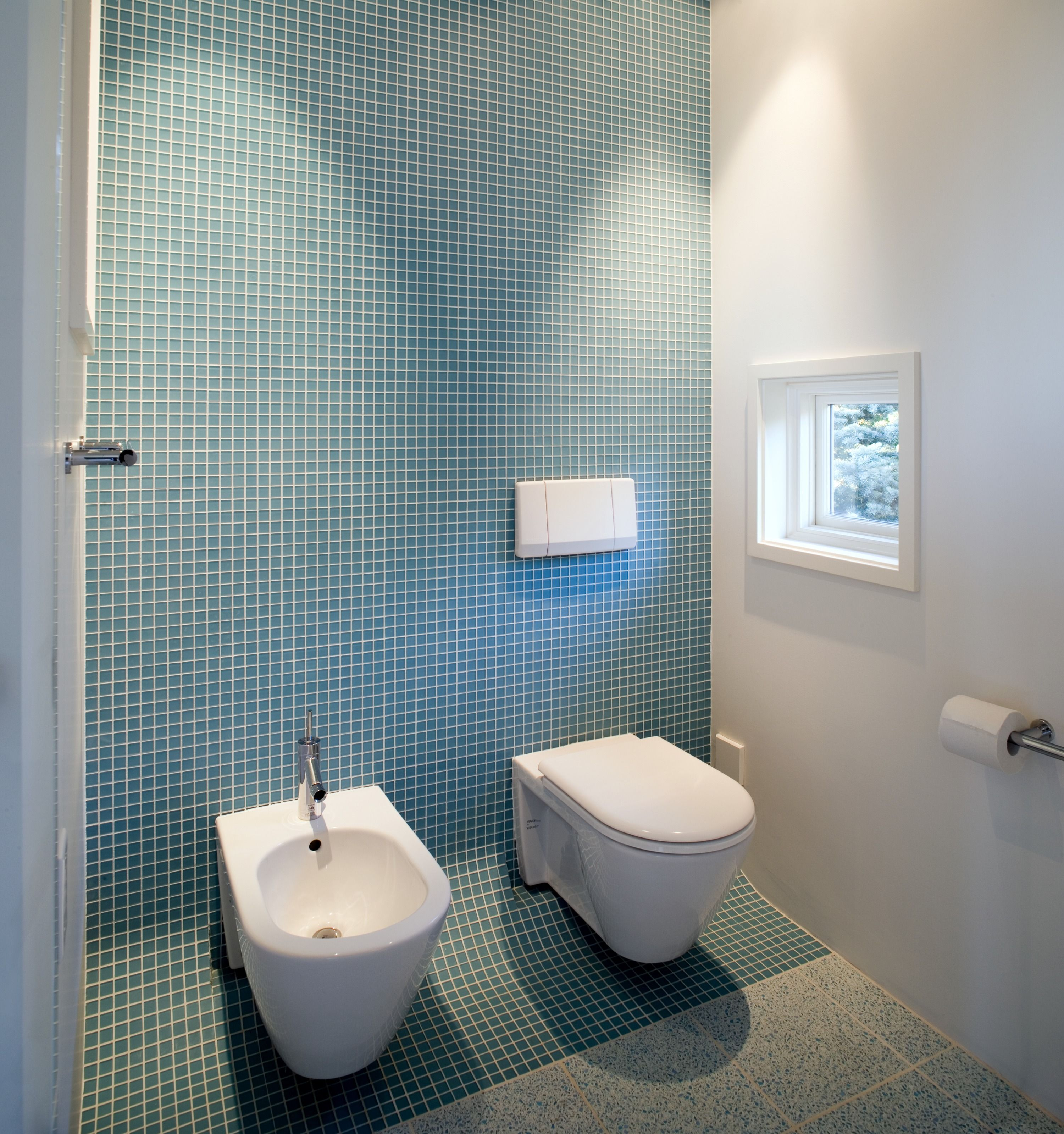 We Don T See It Too Often But A Bidet And Blue Sleek Tile