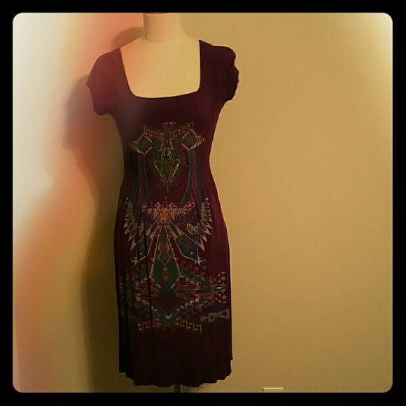 Summer dress Purple cap sleeved tribal print Dresses Midi