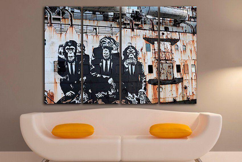 3 Wise Monkeys Wall Art Canvas Speak No Evil Hear No Evil See Etsy Monkey Wall Art Monkey Wall Banksy Mural