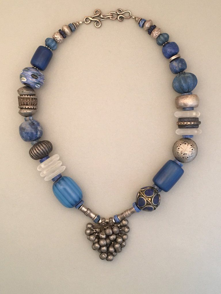 Blue Mixed Bead And Silver Statement Necklace Dazzling