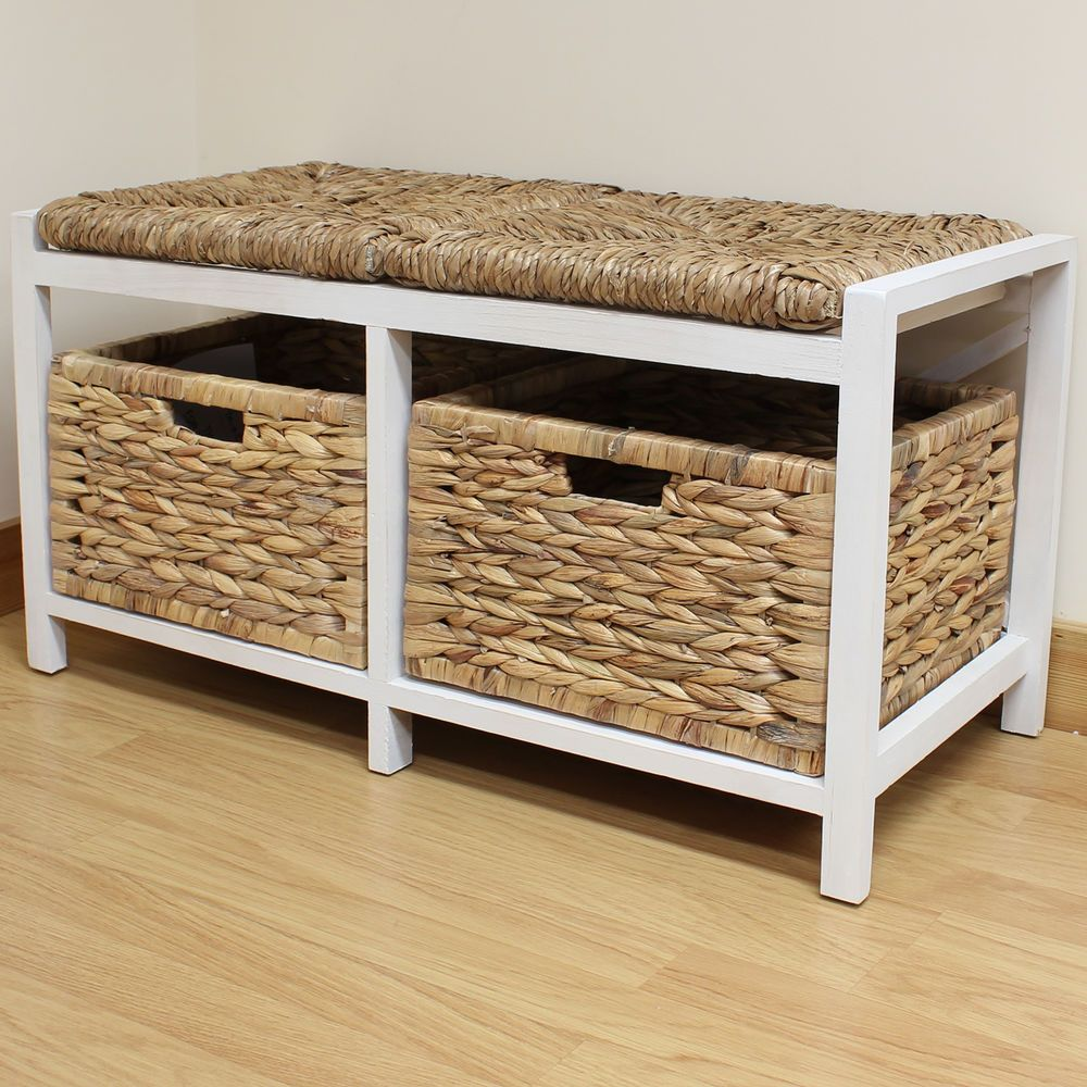Hartleys Farmhouse Bench Seat Storage Baskets Hallway Bathroom Wicker Cushion Entryway Bench Storage Bench With Storage Seat Storage