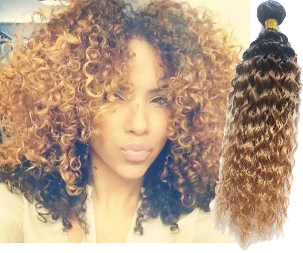 Au New Fashion 1b3327 Ombre Human Hair Extension 3tone Curly Wave