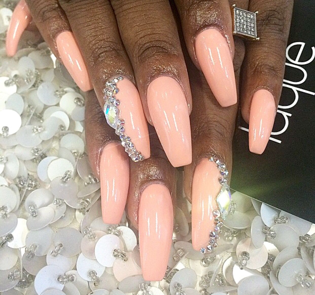 Light Peach Coffin Nails With Gemstones Glamour Nails Peach