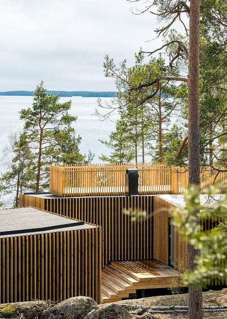 Modern vacation cottages in Sweden by Thomas Sandell  and cool siding