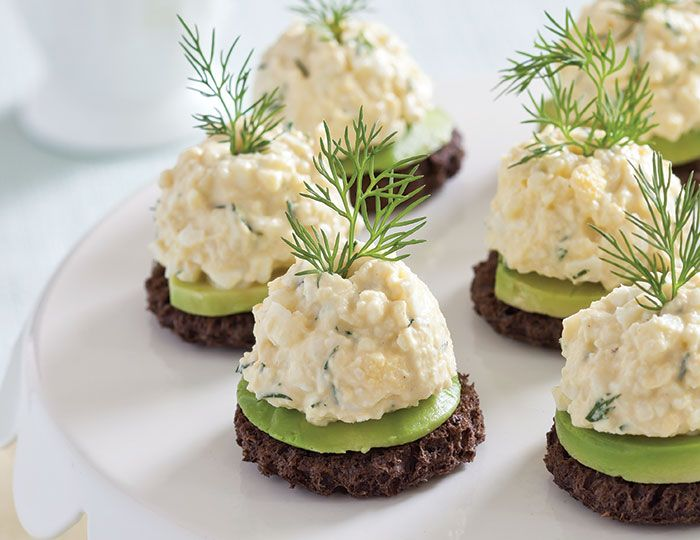 Fresh dill and a hint of Dijon mustard give these Avocado-Egg Salad Canapés extra flavor.