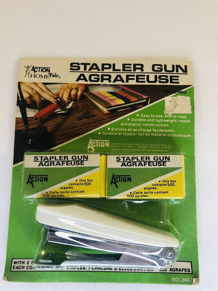 Details About Action Industries3 Piece Stapler Set Made In Hong Kong 1979 New In 2020 Hong Kong Kong Hong
