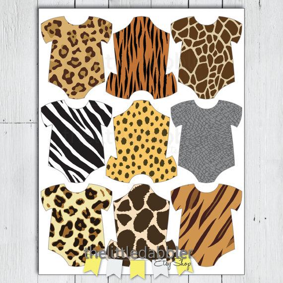 d1fde471b597 Printable Safari Jungle Animal Print Baby Shower Mini Onesie Tags -- Baby  Romper Thank You Favor Gif
