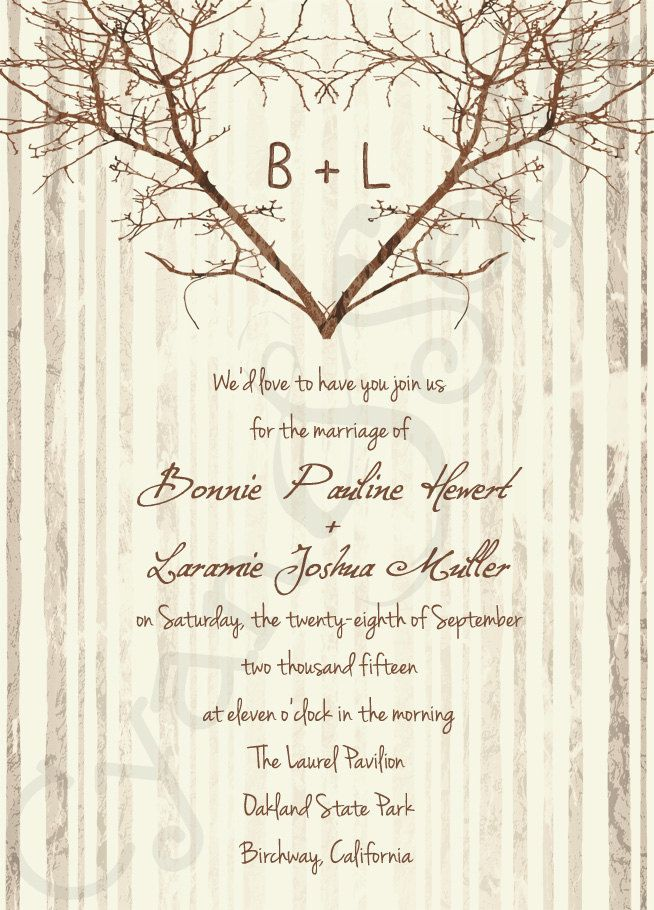 Printable wedding invitation 5x7 branch heart tree for Free printable tree wedding invitations