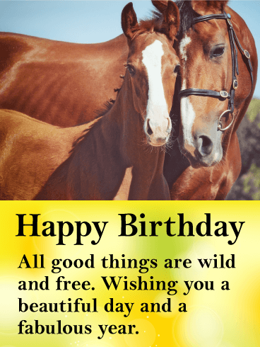 Beautiful Horses Happy Birthday Card Birthday Greeting Cards By Davia Horse Happy Birthday Image Happy Birthday Horse Birthday Wishes Greetings