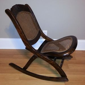 Antique Folding Wooden Rocking Chair with Wicker Seat and Back