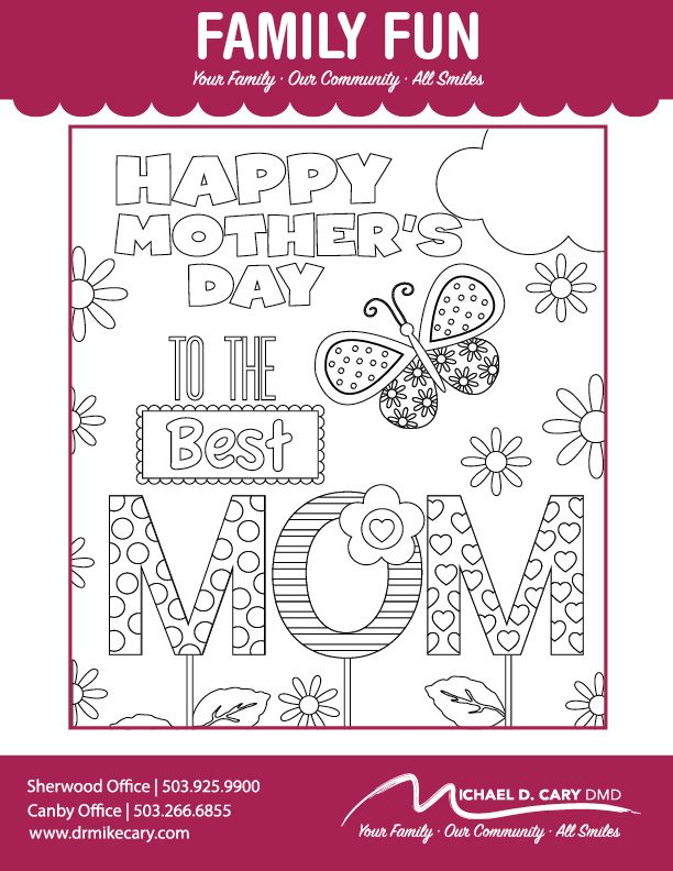Mothers Day Coloring Page. Print and Color! The Best Mom! Family Fun ...