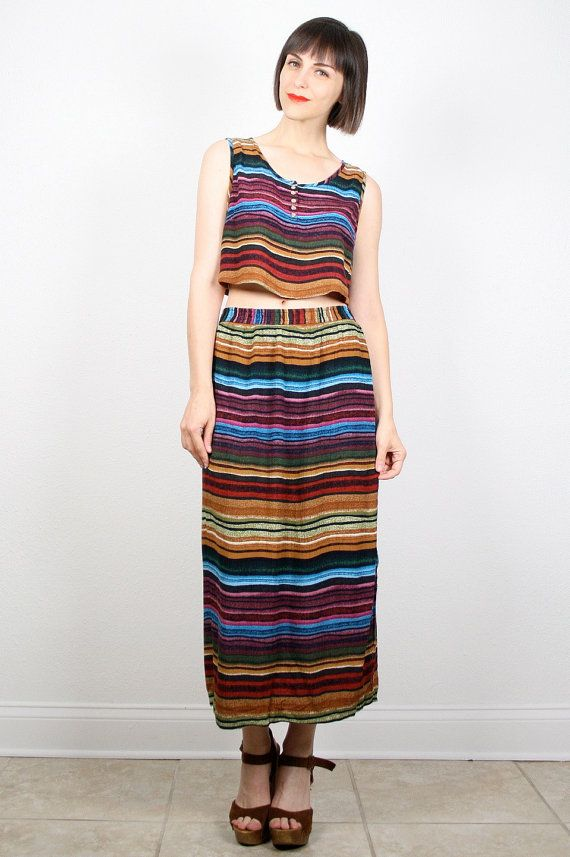 96efd2e2a9 Vintage Outfit 1990s Crop Top Maxi Skirt Two Piece Set Rainbow Striped  Outfit Tank Top Midi