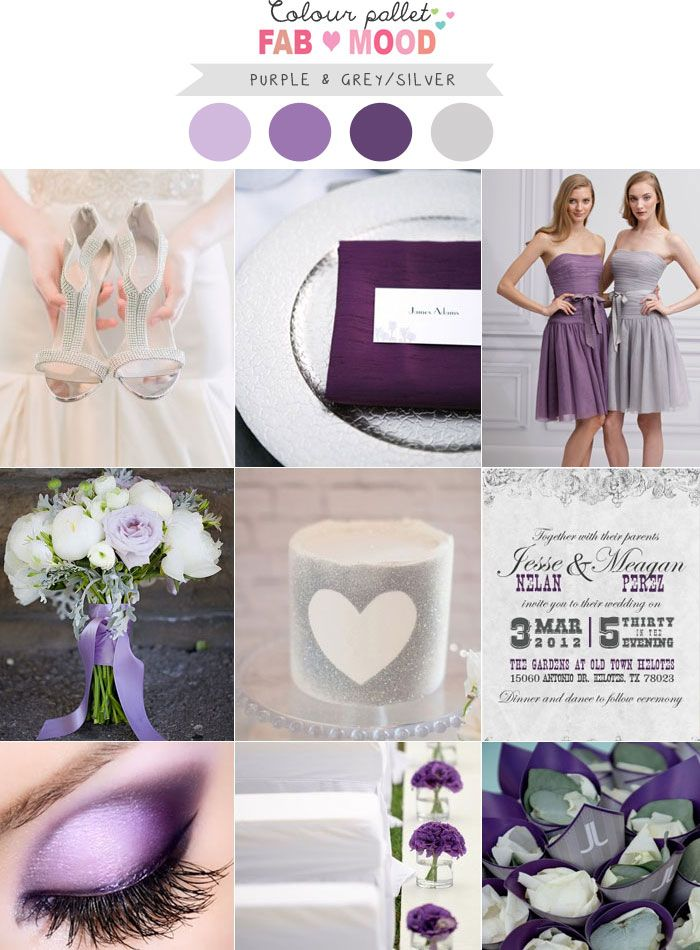 Shades Of Purple Silver Wedding Colors Silver Wedding Colours