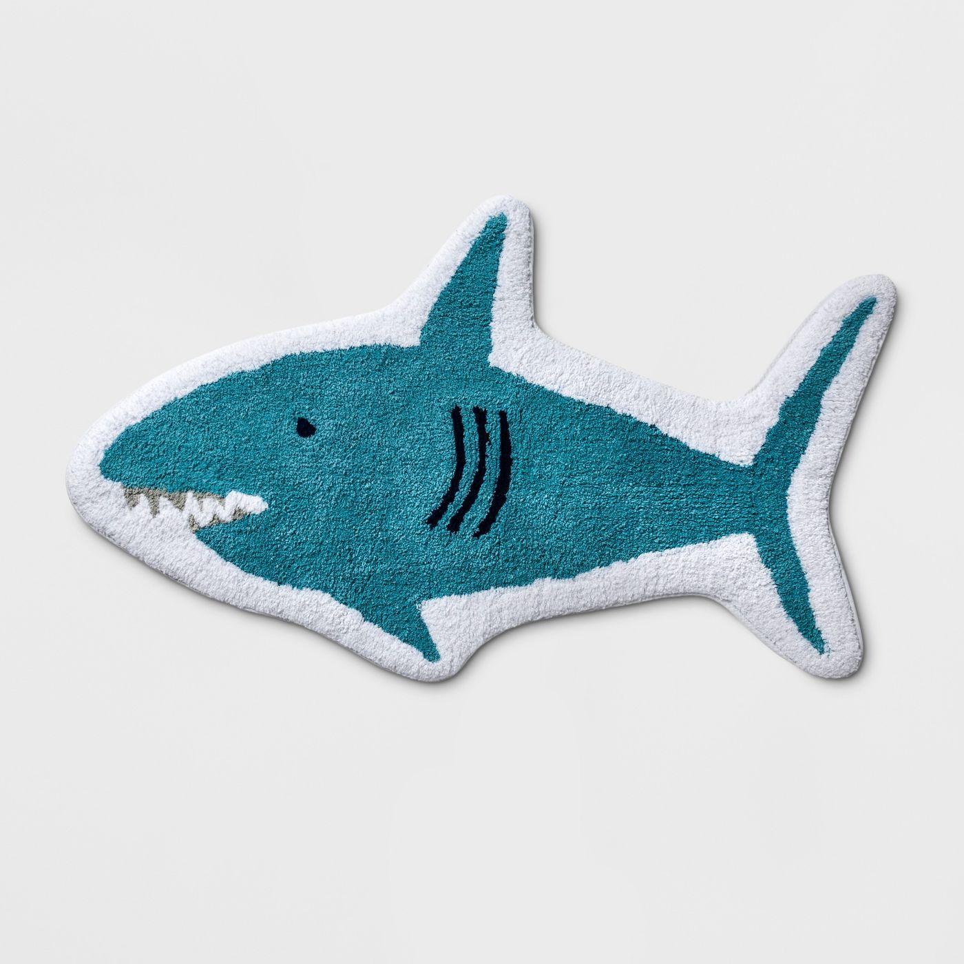Shark Bath Rug Blue - Pillowfort™