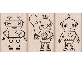 Robot Trio • Robot Stamp (Woodblock Craft Stamp) Stamping • Card Making • Paper Craft • DIY Invitation Cards • Robot Party • For Boy (LP197)