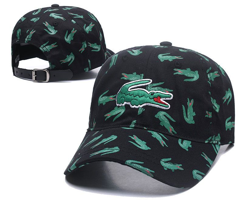 online store 3caba 47775 Men s   Women s Lacoste Full Croc Print Big Crocodile Embroidery Curved Dad  Cap - Black (Copy Ori)