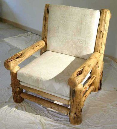 Constructing Log Furniture  Pine log chair for a rustic log or