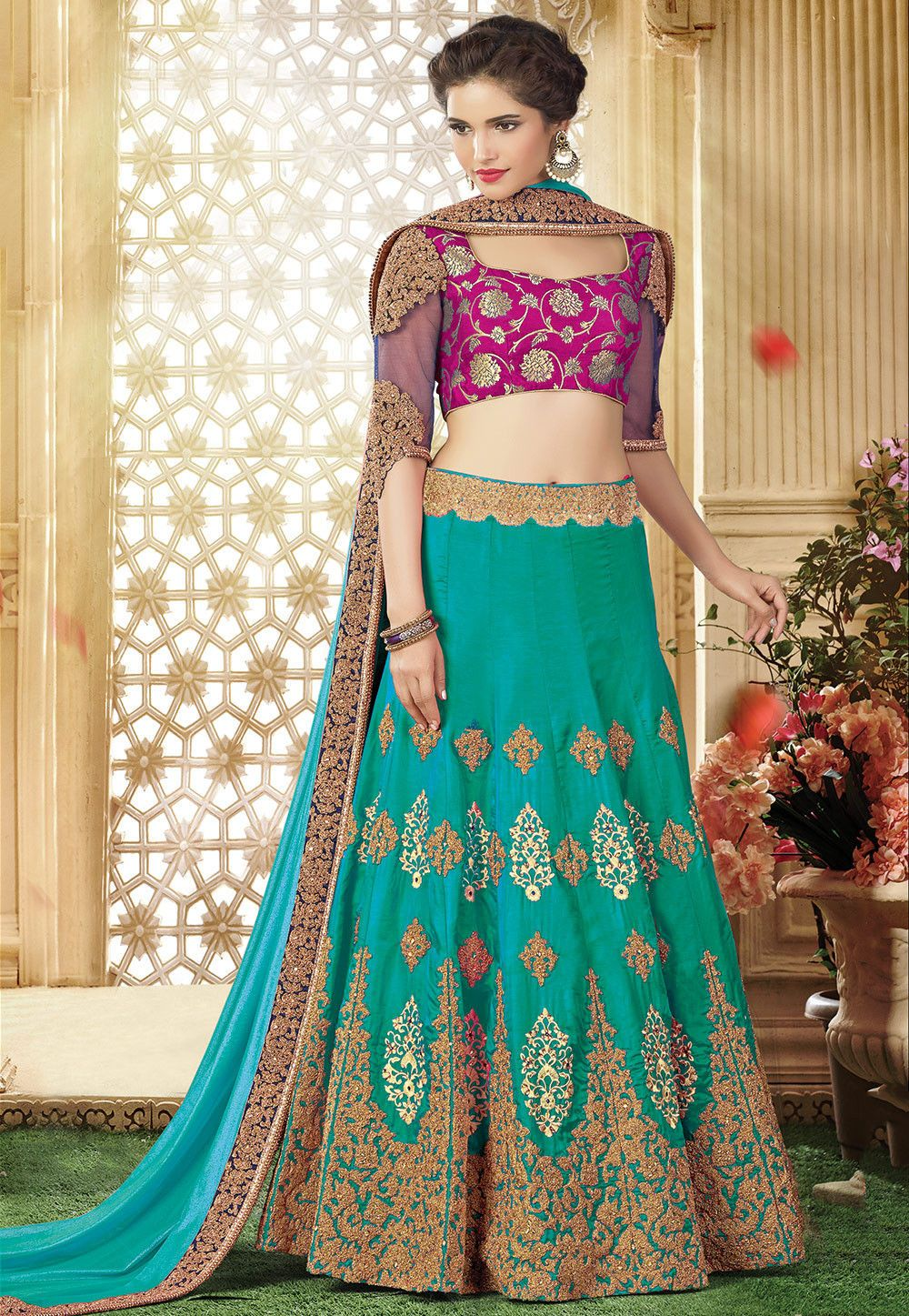 Buy Embroidered Art Silk Lehenga In Teal Green And Sky Blue Online Item Code Lxw436 Color Green Occasion Designer Lehenga Choli Silk Lehenga Lehenga Choli