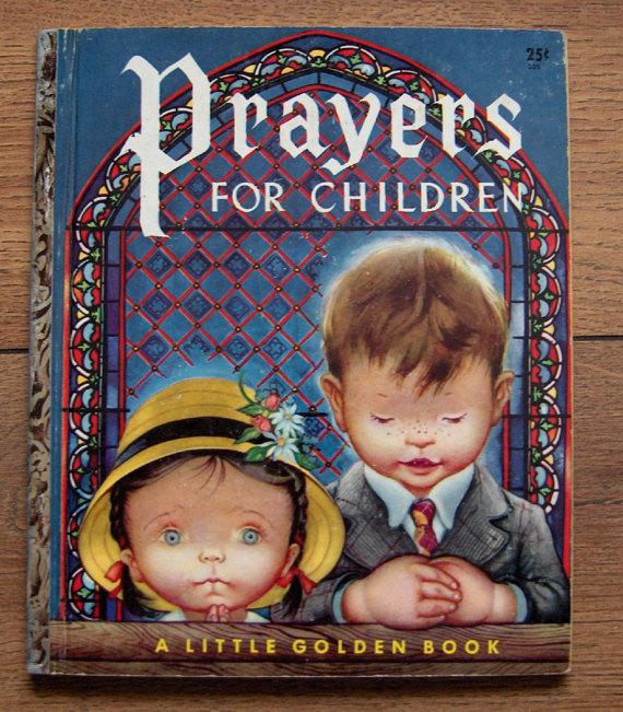 "vintage 50s little golden book PRAYERS FOR CHILDREN boys girls ""G"" edition 205 guc Eloise Wilkin"