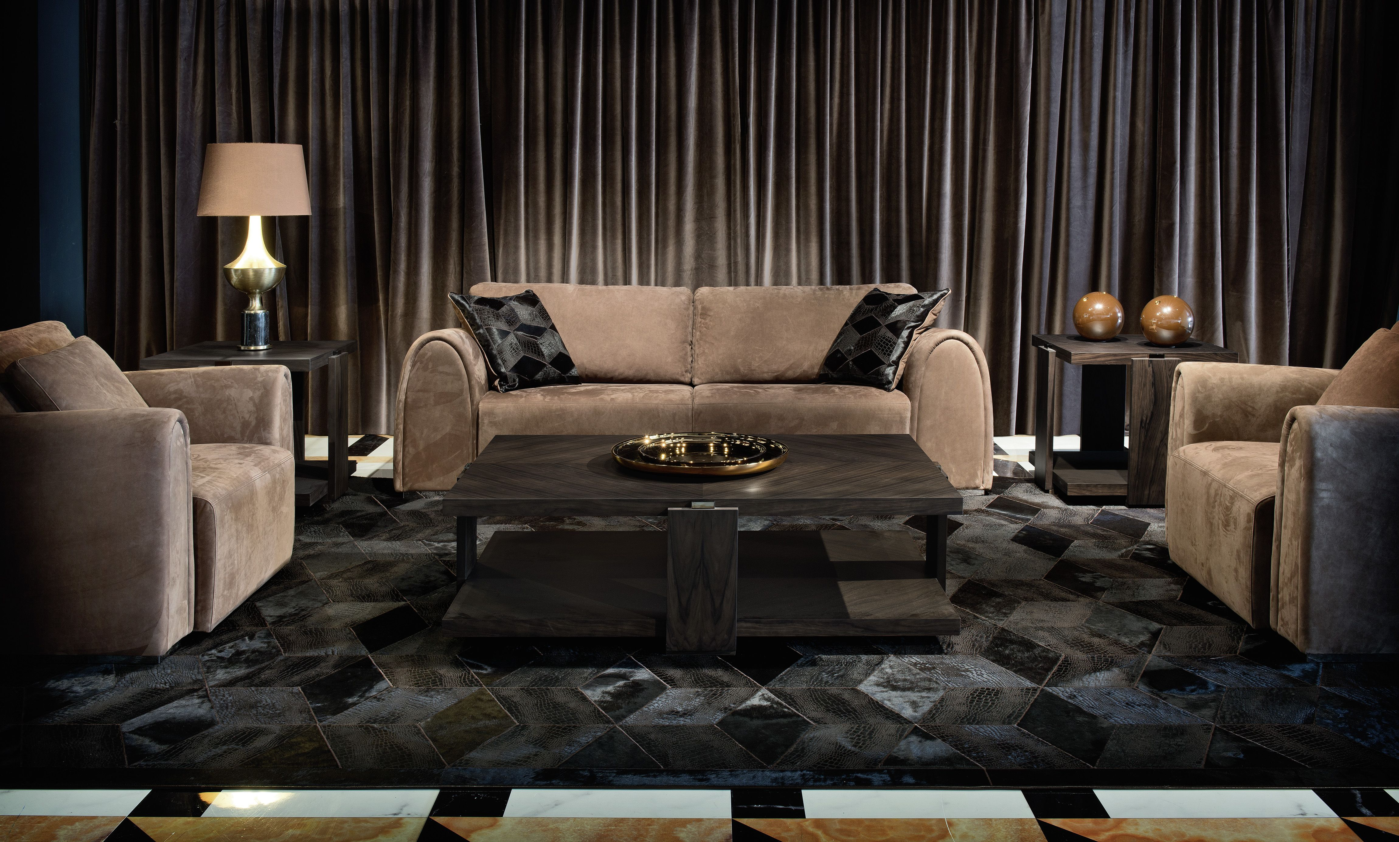 maurice sofa and armchairs in fumè nabuk leather | smania | the