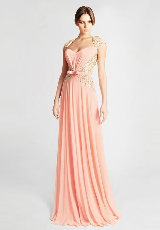 pink chiffon v-neck empire long prom dress with cap sleeves
