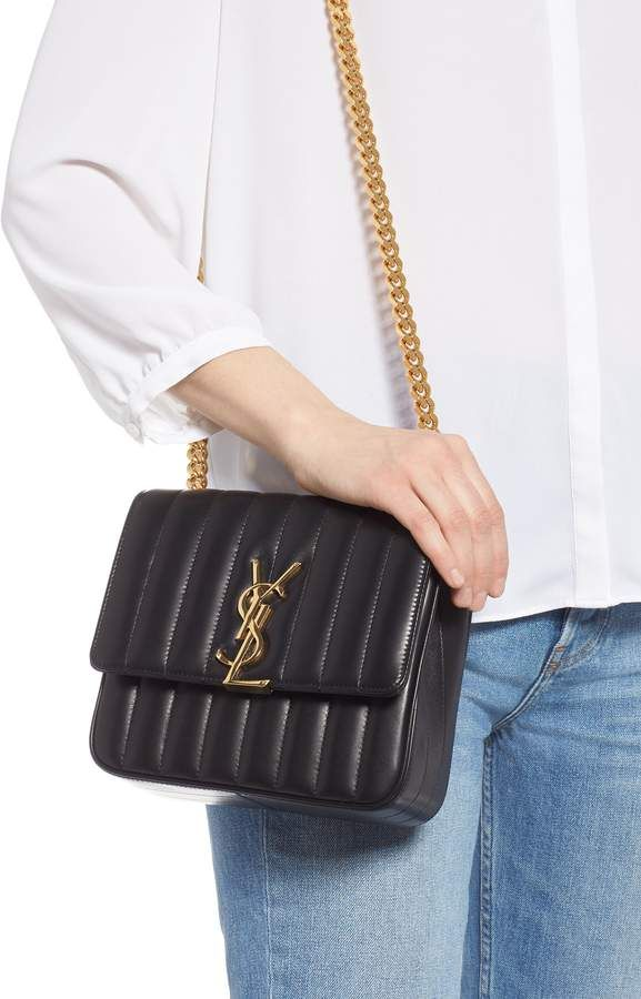 8a3ba33ca Saint Laurent Medium Vicky Leather Crossbody Bag - Black, 2019 | YSL