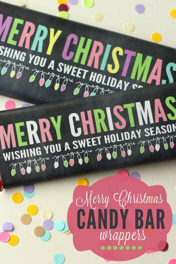 Merry Christmas Chalk Candy Bar Wrappers on { lilluna.com }   So ...