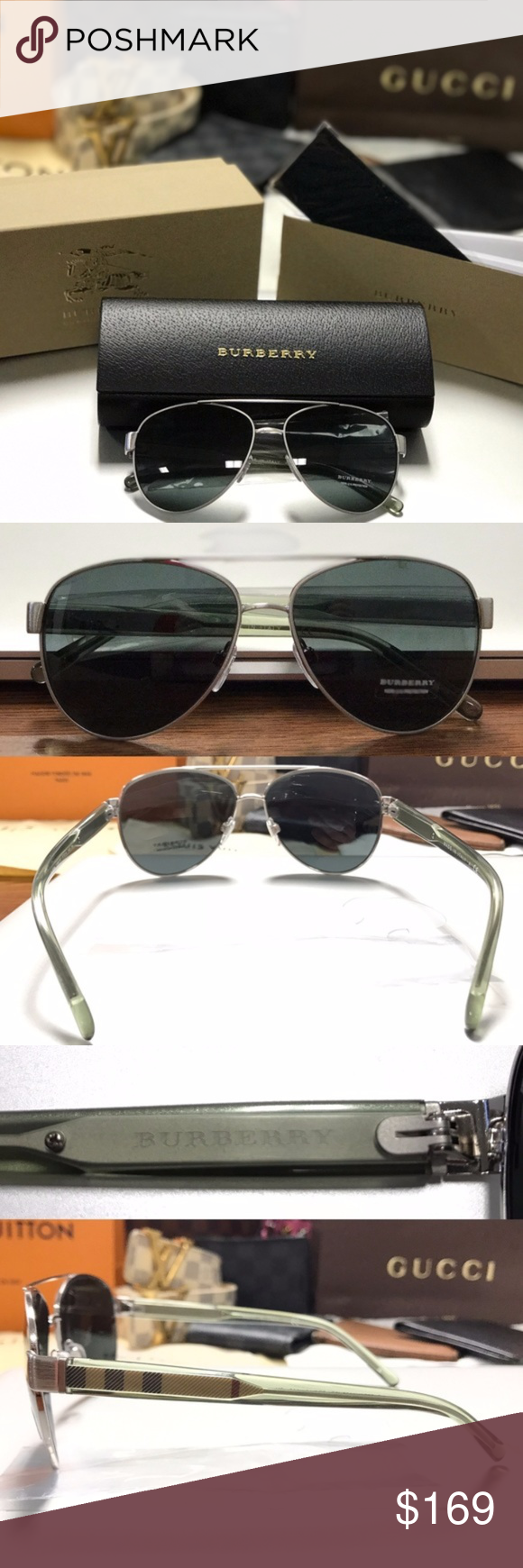 394355878eb7 NWT Authentic Burberry Aviator Sun Glasses New With Tags - 100% Authentic  Burberry BE 3084 Unisex Sunglass Shades Sunnies Womens / Mens Color:  Brushed ...
