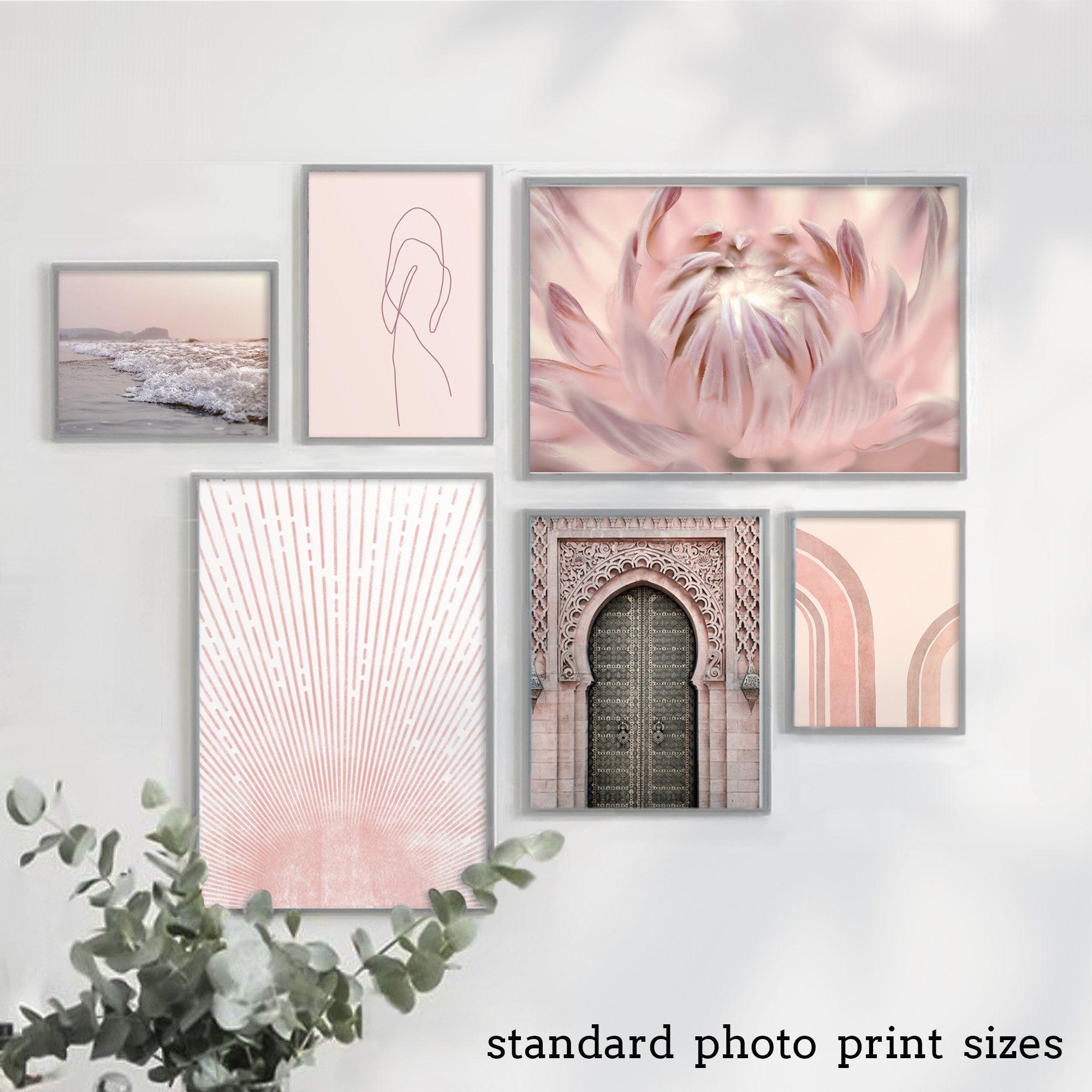 Pink Wall Art Set Bedroom Wall Decor Large Prints Etsy Pink Wall Art Wall Art Sets Modern Art Printables