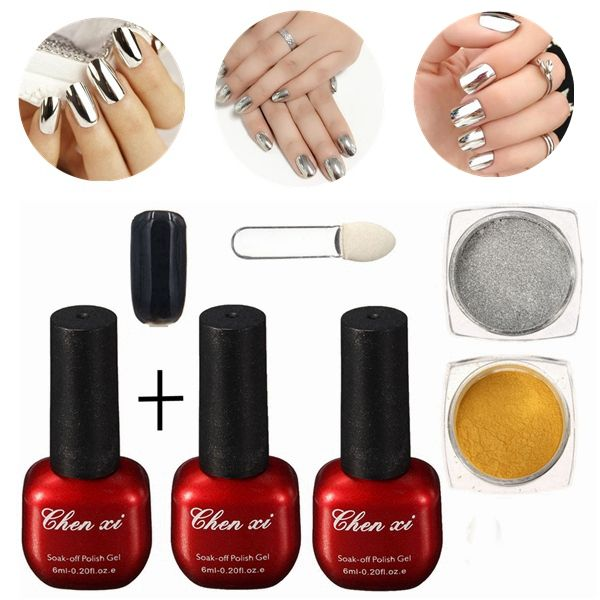 6pcs arte de uñas de gel de polvo de brillo espejo mágico polvo de ...