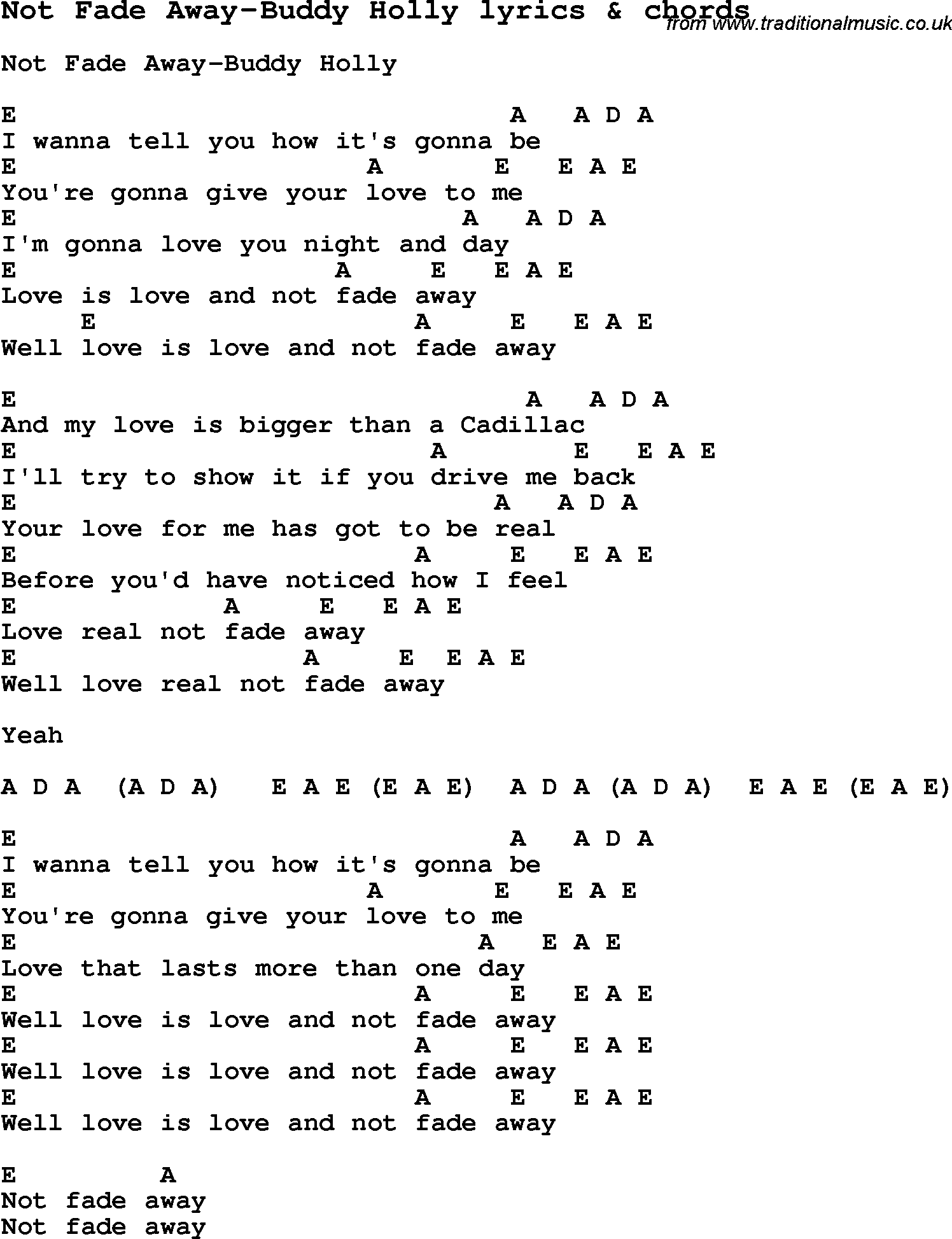Not fade away buddy holly words pinterest buddy holly love song not fade away buddy holly with chords and lyrics for ukulele guitar banjo and other instruments hexwebz Images