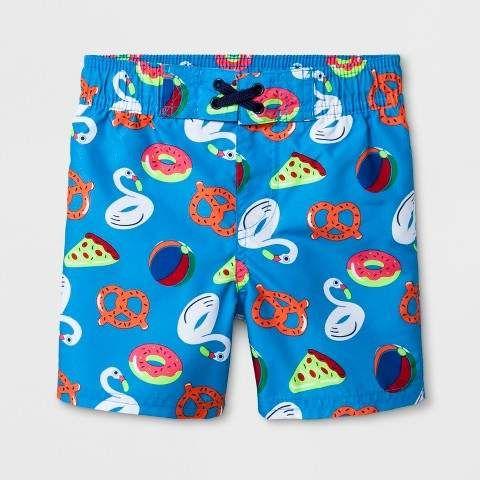 f9030d1c34 Toddler Boys' Pizza and Pretzel Swim Trunks Blue #Twill#Closure#knee ...