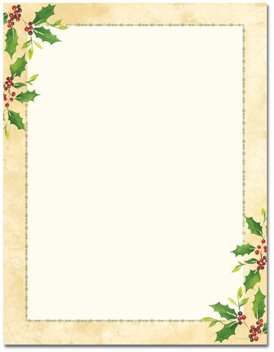 Printable Christmas Letterhead Stationery, Blank Designer - christmas letterhead templates word