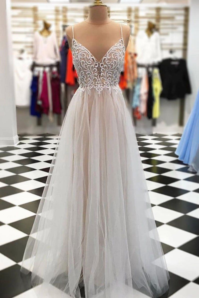 d645fbf07d New Arrival A-Line Spaghetti Straps Tulle Long Prom Evening Dress ...