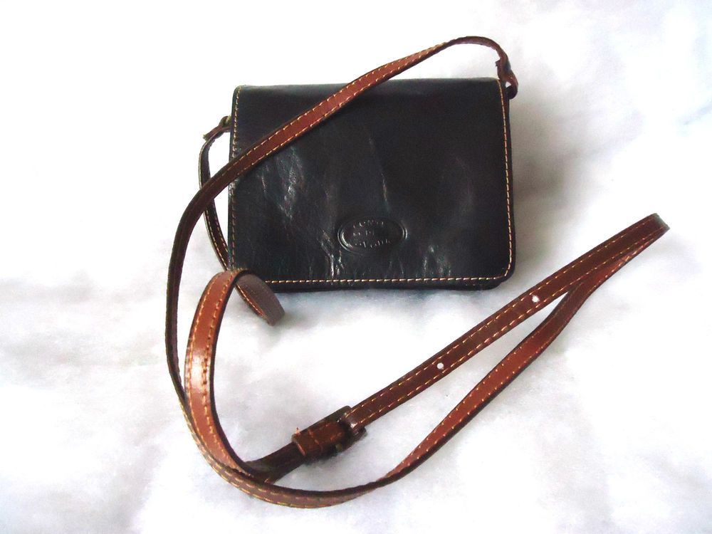 Womens Black Tan Leather Shoulder Crossbody Bag Very Small By Conte Di Cavour