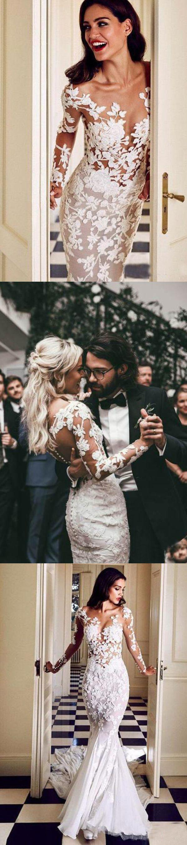 Durchsichtig Lange Ärmel Meerjungfrau Brautkleider Spitze Applique Brautkleid #spitzeapplique