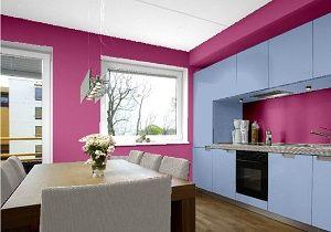 Gewagt Und Mutig Ist Diese Farbkombination Für Eine Küche, Wandfarben In  Violett Blau Grau.